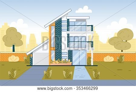 Modern Suburb House Exterior Building With Garage And Two Balcony. Suburban Architecture. Real Estat