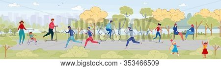 People Rest In City Park Flat Vector Illustration. Little Kids And Adults Outside Cartoon Characters