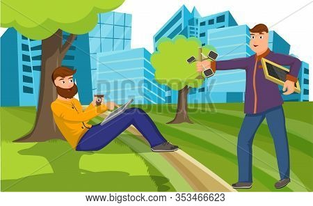 Cartoon Man Give Portable Solar Charger Man Sitting With Mobile Phone On Grass Lawn Vector Illustrat