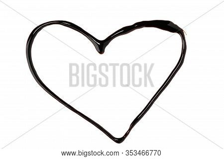 Heart Shape Painted With Chocolate Syrup On White Background