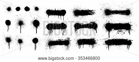 Spray Painted Lines And Grunge Dots. Graffiti Stencil Template. Isolated Collection. Paint Splatter