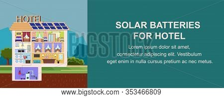 Solar Batteries For Hotel Vector Illustration. Install Solar Panels With Photovoltaic Cell On Buildi