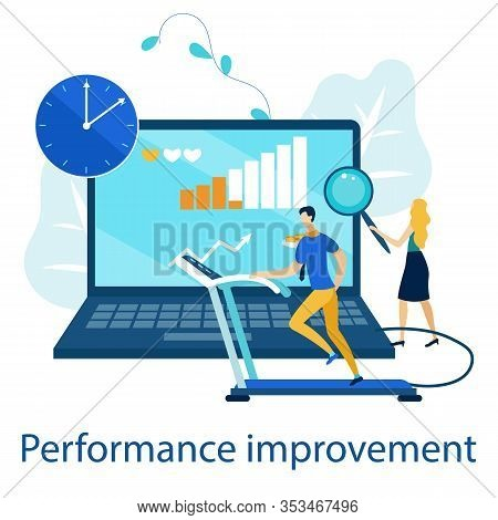 Bright Poster Is Written Performance Improvement. Drawing Up Plan For Improving Performance. Banner