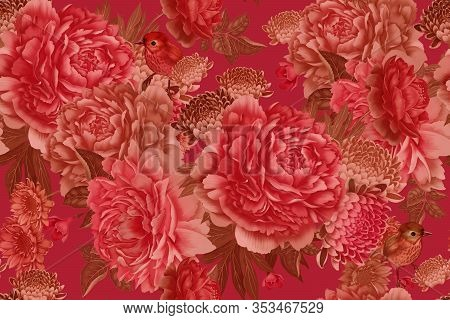 Floral Seamless Pattern. Garden Flowers Pink Peonies And Cute Birds. Colorfull Illustration. Hand Re