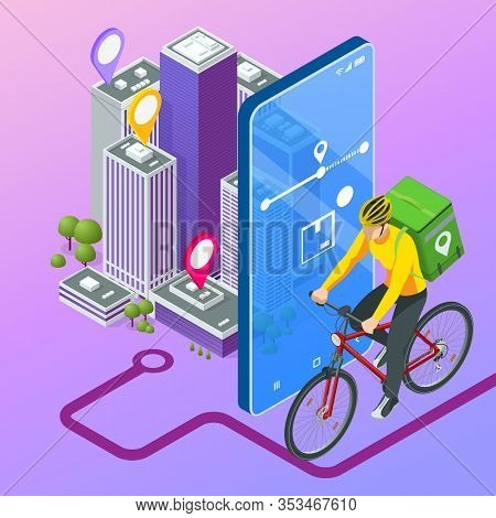 Isometric Bicycle Courier, Express Delivery Service. Courier On Bicycle With Parcel Box On The Back