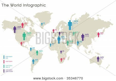 Human Infographic Vector Illustration. World Map And Information Graphics