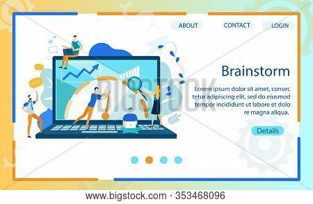 Bright Banner Brainstorm Lettering Cartoon Flat. Flyer Developing An Action Plan That Includes Goals