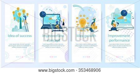 Set Bright Banner Improvement Concept, Cartoon. Poster Inscription Idea Of Success, Growth Idea, Imp