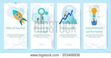 Set Advertising Poster Written Idea Of Success. Banner Inscription Improvement Concept, Growth Idea,