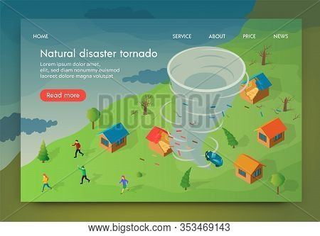 Isometric Is Written Natural Disaster Tornado. Vector Illustration Men And Women Are Booged Into She