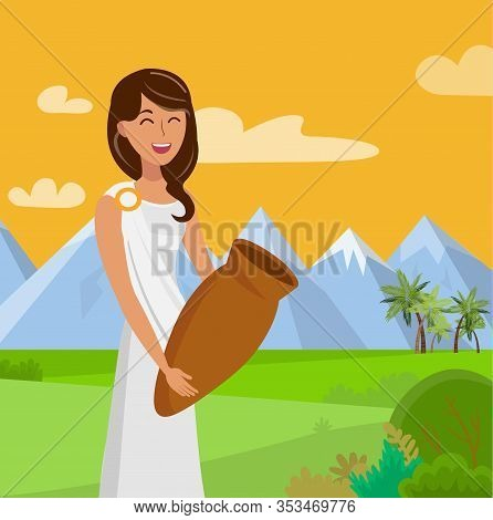 Pretty Woman With Jar Flat Color Illustration. Smiling Lady In Toga, Tunic Cartoon Character. Happy