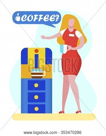 Young Sexy Blonde Woman In Red Dress Holding Cup In Hands Stand At Coffee Machine Making Offering Ge