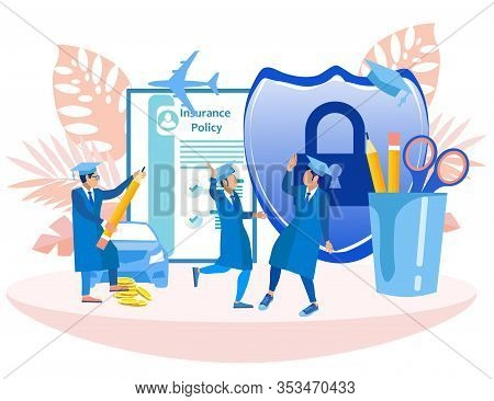 Guys Students On Background Insurance Policy. Insurance Policy. Vector Illustration. Reliable Protec