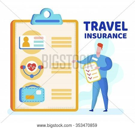 Informative Poster Is Written Travel Insurance. Man In Suit Presents Big Document. Travel Insurance