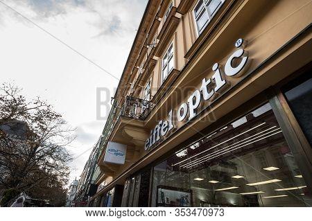 Prague - Czechia - November 1, 2019: Eiffel Optic Logo In Front Of Their Shop For Prague. Eiffel Opt