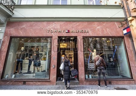 Prague, Czechia - November 1, 2019: Tommy Hilfiger Logo On Their Local Boutique In Prague. Tommy Hil