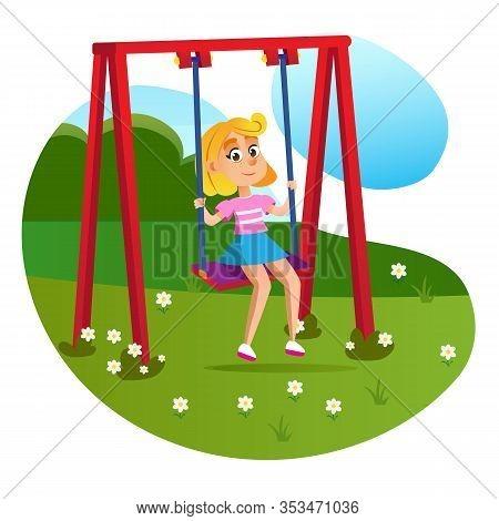 Cartoon Girl On Swing At Park Playground Vector Illustration. Happy Kid Sitting Hanging Seat. Enjoy