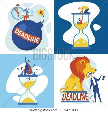 Vector Illustration Set Deadline Cartoon Flat. Staff Member Sits An Office On Bomb, Clutching His He