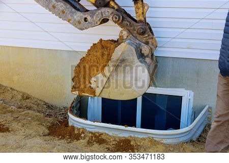 Excavator Moving Earthmover In The New House Under Construction Window Well Craft Basement Construct