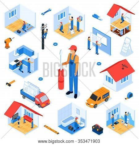 Set Turnkey Apartment Renovation Isometric Flat. Repair Service Prepares Room For Repair. Dismantlin