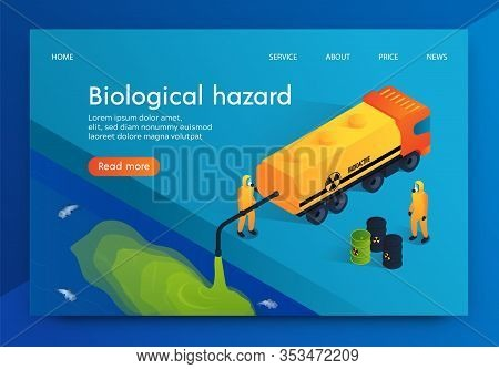 Flat Illustration Humanity Biological Hazard. Workers Chemical Plant Are Dumping Radioactive Waste I