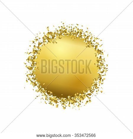 Exploding Round With Debris. Isolated Gold Illustration