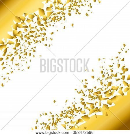 Background Explosion With Debris. Isolated Gold Illustration