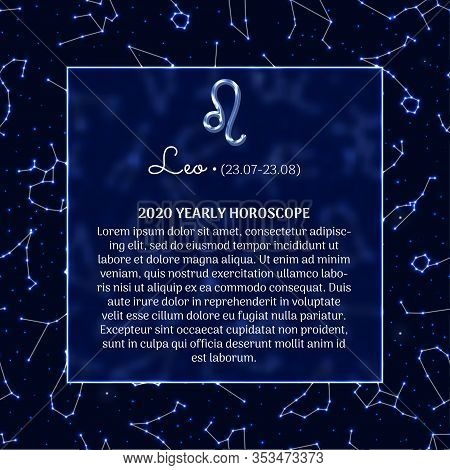 Leo Astrology Horoscope Prediction For 2020 Year. Luminous Zodiac Signs On Blue Background. Leo Star