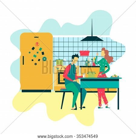 Wife And Husband In Kitchen Lifestyle Flat Design Vector Cartoon Illustration Standing Woman Talking