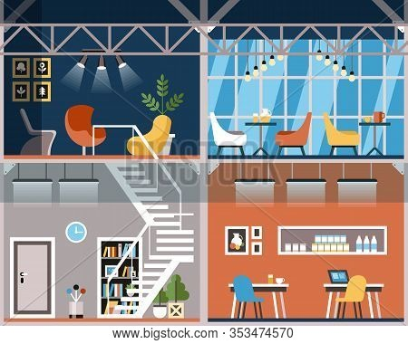Vector Illustration Convenience Coworking Cartoon. Flat Banner Space For Work, Ideas And Creativity.