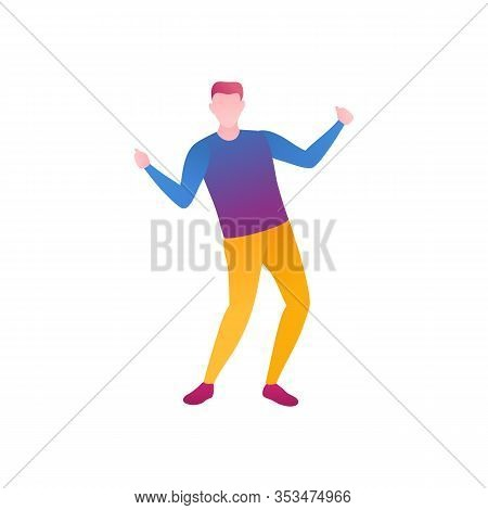 A Man In A Choreography Class, A Flat Vector Illustration. A Young Man Dances In A Club During A Car