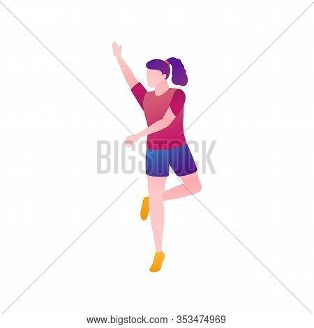 Girl In The Rhythm Of Dance, Flat Vector Illustration. Female Moves On The Dance Floor On Sports Dan