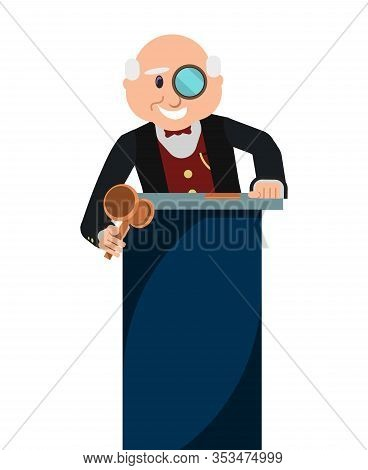 Auction House Poster. Old Smiling Cartoon Man Auctioneer With Wooden Gavel Or Hammer And Magnifying