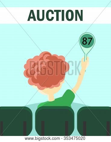Participant Of Auction Holds Tablet With Number Poster Vector Illustration. Cartoon Young Man Buying