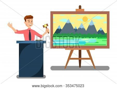 Auction House And Bidding Banner Vector Illustration. Man Auctioneer With Gavel. Sales In Art Galler