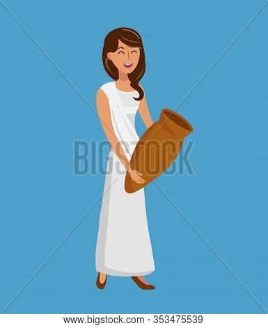 Beautiful Woman Holding Jug Vector Illustration. Ancient Lady In Tunic, Toga Cartoon Character. Smil