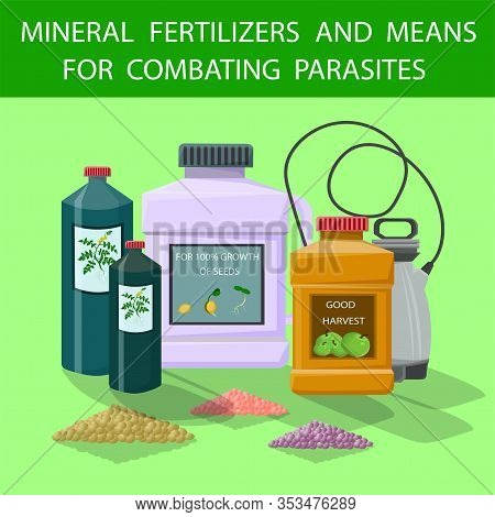Flat Mineral Fertilizers And Means For Combating Parasites. Vector Illustration Colored Background.