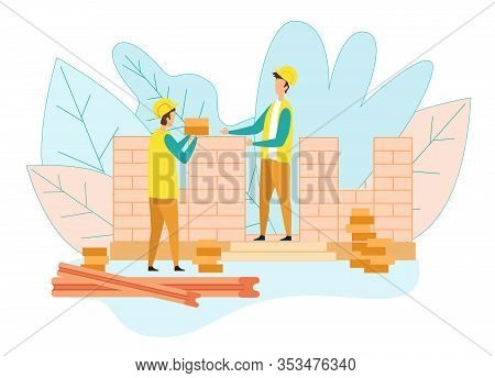 Couple Of Builders Working On Construction Site, Worker Giving Bricks To Colleague Who Put Them On H