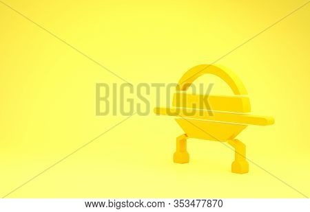 Yellow Ufo Flying Spaceship Icon Isolated On Yellow Background. Flying Saucer. Alien Space Ship. Fut