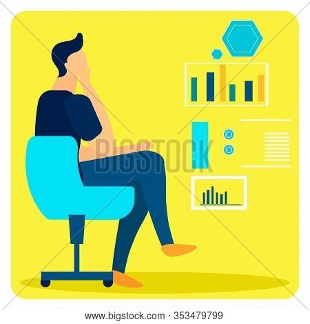 Studying Statistical Data Flat Vector Illustration. Male Expert Making Decision Sitting In Chair. An