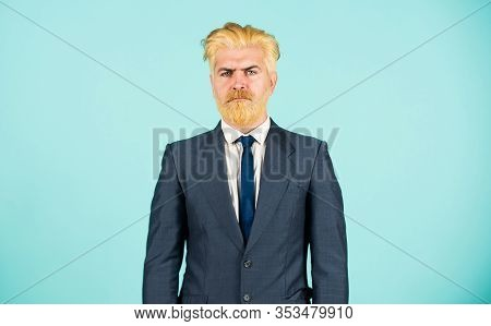 Eccentric Boss. Stylish And Confident. Confident Businessman Wear Suit. Mature Man Dyed Beard And Ha