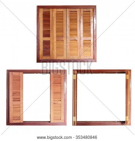 Retro window frame with wooden shutters. Isolated on white background. Set of vintage wooden windows with open and closed shutters