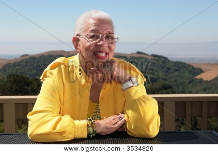 Portrait Of And African American Woman Smiling Outdoors