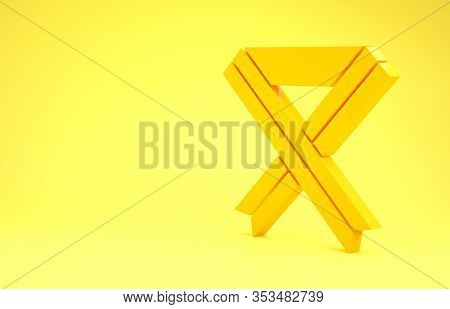 Yellow Breast Cancer Awareness Ribbon Icon Isolated On Yellow Background. World Breast Cancer Day Co