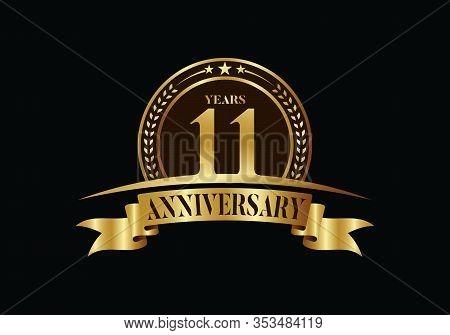 11th Years Anniversary Logo Template, Vector Design Birthday Celebration, Golden Anniversary Emblem