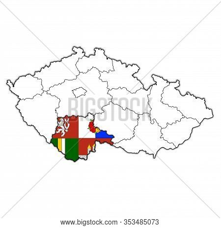 Emblem Of South Bohemian Region On Map With Administrative Divisions And Borders Of Czech Republic
