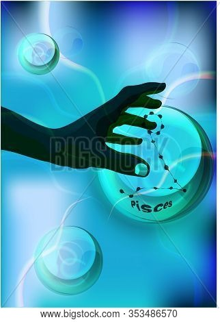 Magic Crystal Ball In Dark Skin Hand, Blue Light, Electric Discharges And Lightning, Mystical Illust
