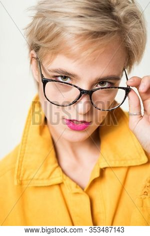 Add Smart Accessory. Stylish Girl With Eyeglasses. Eyesight And Eye Health. Good Vision. High Qualit