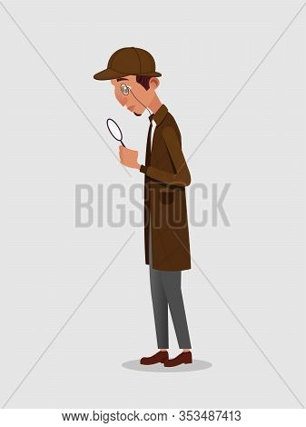 Retro Detective, Sherlock Holmes In Classic Hat, Frock Coat And Monocle Looking In Magnifier Glass I