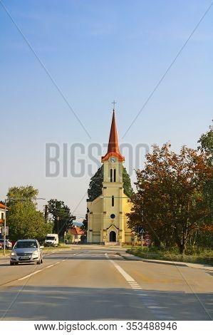 Dubova, Slovakia - August 31, 2019: Roman Catholic Church